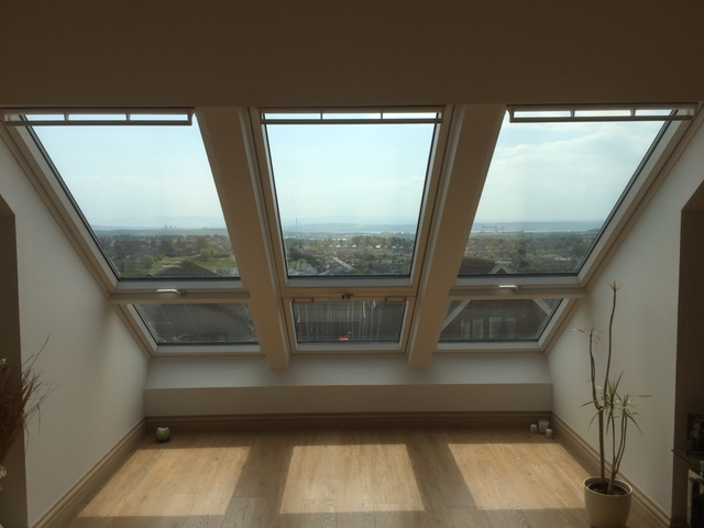 formation of triple velux cabrio roof windows