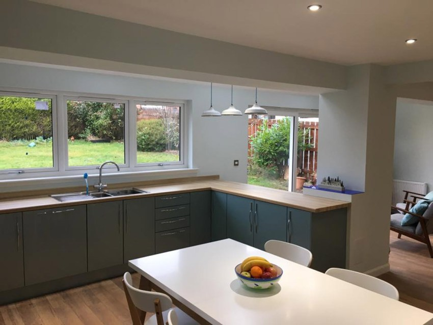 kitchen extension with steel beams