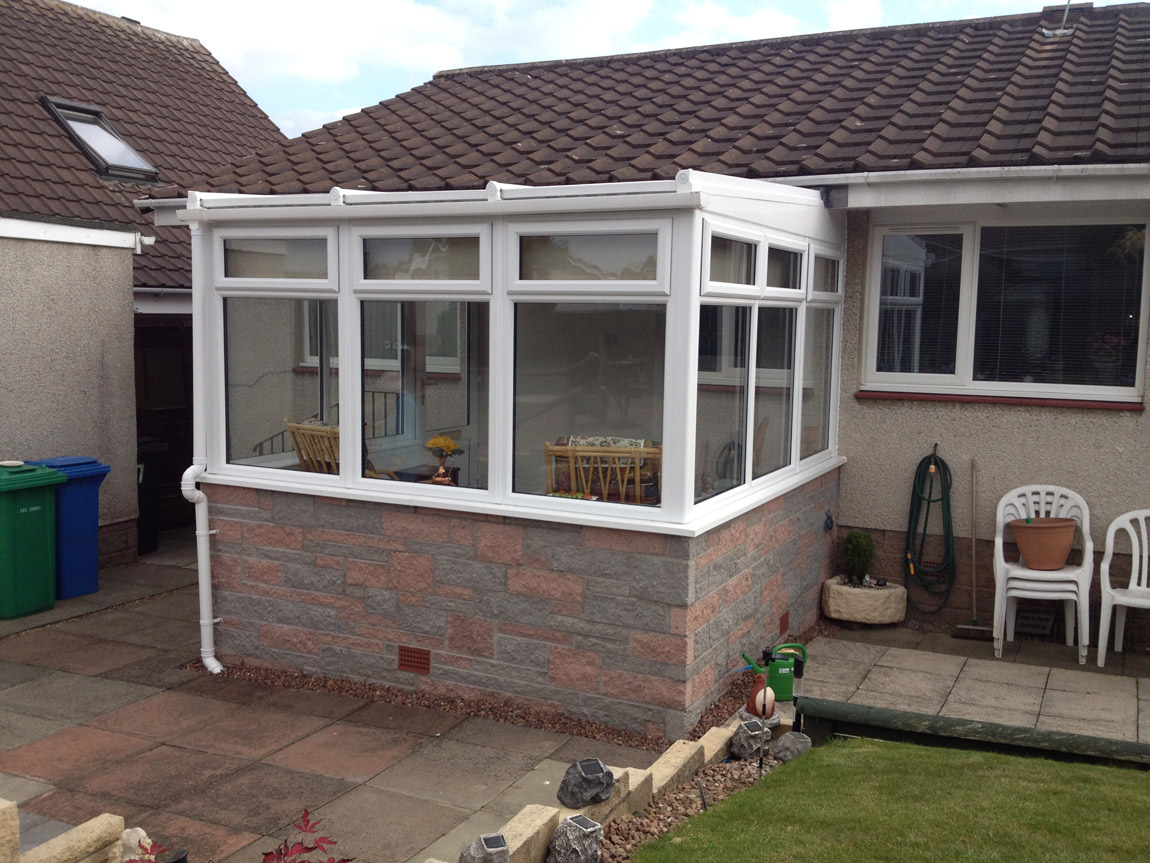 lean to style conservatory in white pvcu