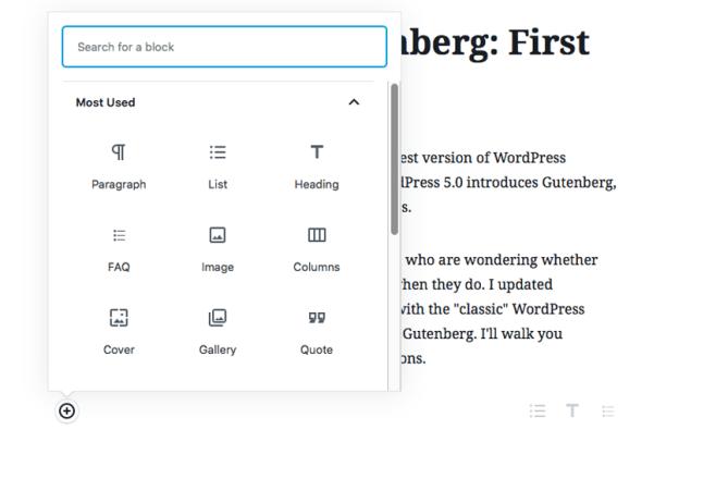 Gutenberg block types