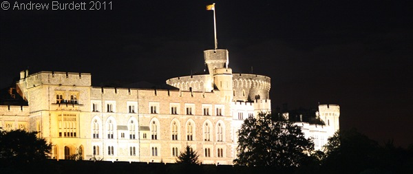 CASTLE BY KNIGHT_Windsor Castle, illuminated, as viewed from Home Park.