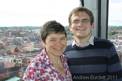 MAN UP T'TOWER_Mum and Matthew up the Tower at the theatre.