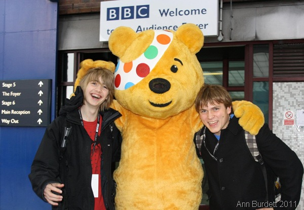 BEARLY ABLE TO CONTAIN OURSELVES_Geoff, Pudsey Bear, and I, outside the main part of BBC Television Centre.