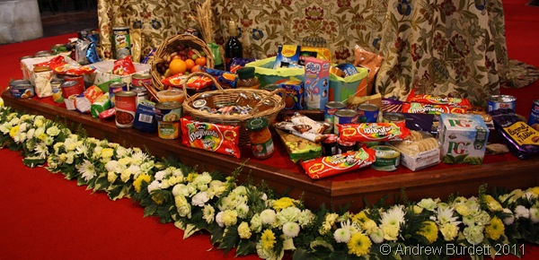 GIFTS FROM THE HARVEST_Donated foodstuffs for the local elderly people.