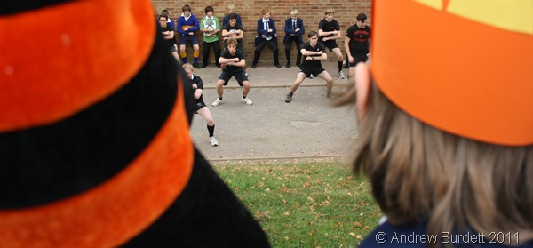 HAKA PAKA_Sixth-formers give a demonstration of the New Zealand world-famous rugby Haka during the carnival procession.