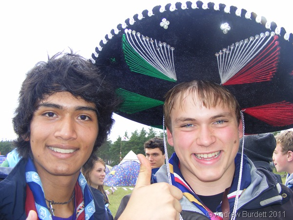 MEXICAN'S HAT_A Mexican Scout and me, wearing his hat.
