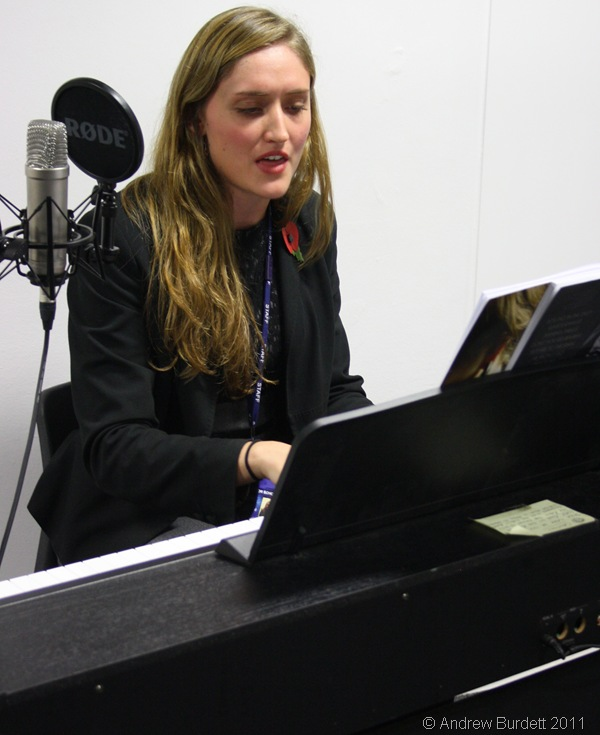 HAVING A BLAST_Miss Watson performing an Adele song, whilst being recorded from the control room next door.