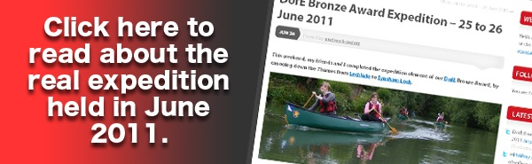 Click here to read about the real expedition in June 2011.