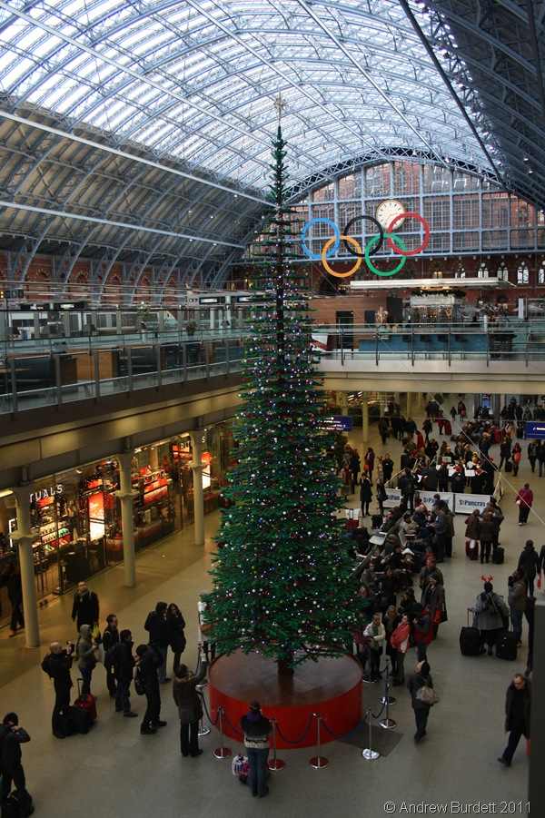 TALL ORDER_This Christmas tree is made of Lego bricks and stands in King's Cross St Pancras Railway Station.