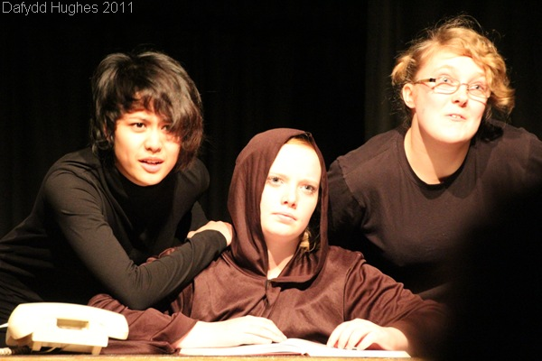 DEADLY HALLOWS_Robyn Wijesinghe, Becky Hughes, and Lauren Langley played a number of characters in the piece, known as 'multi-rolling'.