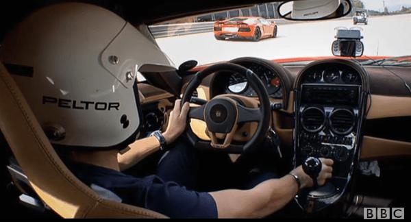 IN THE CAR ON THE TRACK: Hammond follows the camera car.