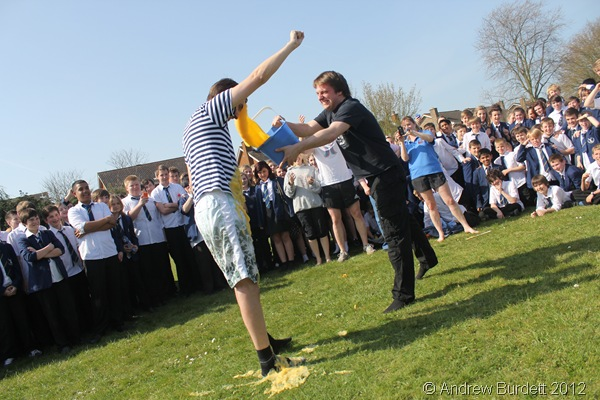 YOUR BEST SHOT: Mr Shire covers Mr Bonficace in the custard. (IMG_9581)
