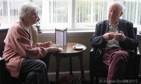 HOW VERY CIVILISED: Enid and Tony Barber enjoy hot drinks, before even going to their room. (185_IMG_1927_ARB)