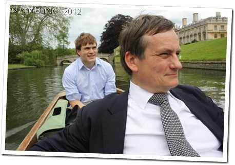 LIKE FATHER LIKE SON: Dad and I enjoying Harriet punting on the Cam during a warm afternoon in Cambridge just over a week ago. (078_IMG_7963_AMB)