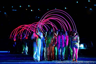 BIRTH OF THE BRITISH TEENAGER: Colourful glowsticks were held by dancers.