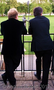 SCHEMING: Mr Bown and Mr Towill, enjoying the view - and possibly planning the next 'big thing'. (DSC01630_ARB-corrected)