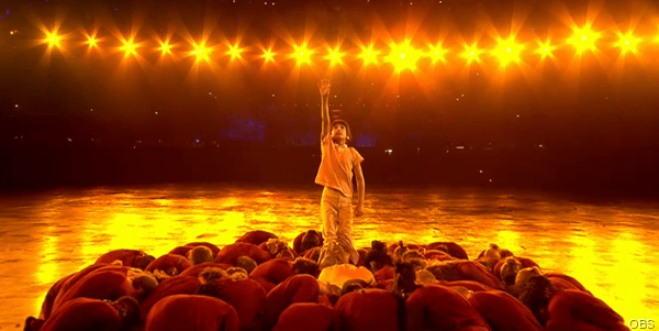 REACH: One child star of the Olympic Opening Ceremony show in one of the more reflective moments.