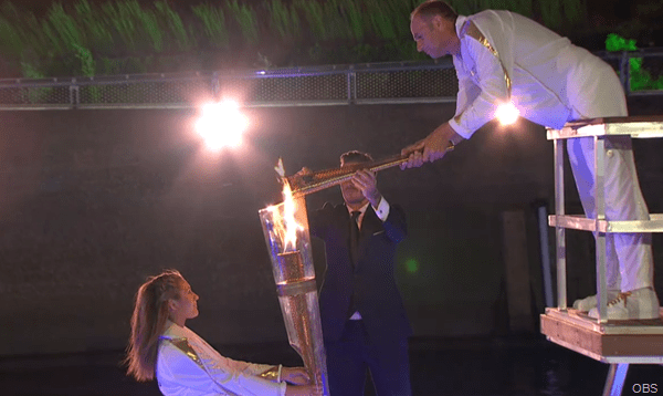 DON'T LEAN TOO FAR, SIR STEVE: As the camera moved to a different angle, we learnt exactly who the final lone torchbearer would be - Sir Steve Redgrave!