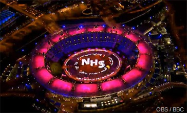 SHINING TRIBUTE: The NHS's name seen from the helicopter camera.