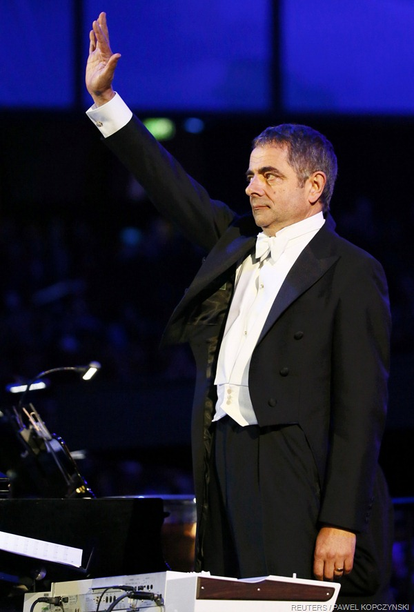 TAKING HIS APPLAUSE: Rowan Atkinson played a surprise star part in the show.