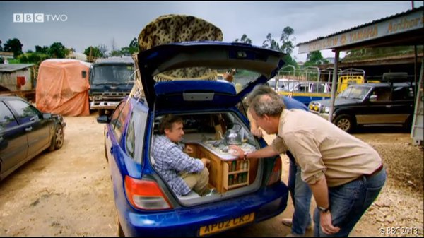 INSPECTION: Clarkson and May look at Hammond's modifications.