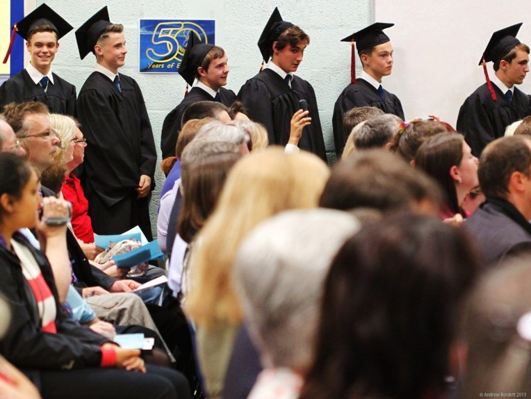 WAITING IN THE WINGS: The next set of 'graduates' wait for their names to be called.
