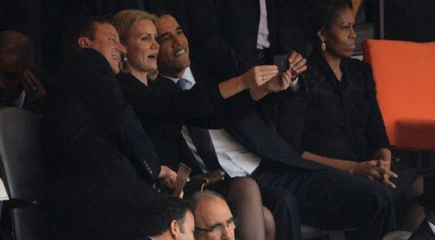 The three spotted taking the offending selfie.