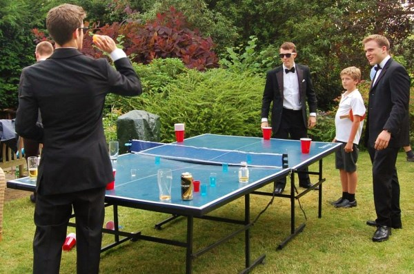 A game of Beer Pong in the Barrets' garden, before leaving for the Prom.