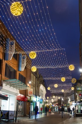 This year, the town's Christmas Lights have been revamped, with more modern designs now illuminating the High Street.