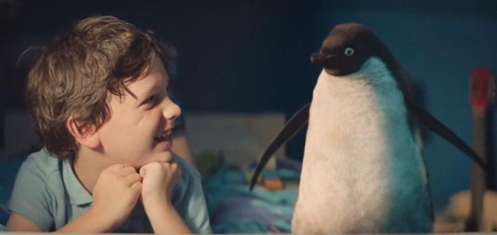 Screenshot of the John Lewis Christmas 2014 advert, starring Monty the Penguin.