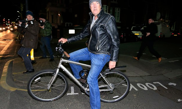Jeremy Clarkson, pictured on his bicycle tonight, after hearing the BBC is not going to renew his Top Gear contract.