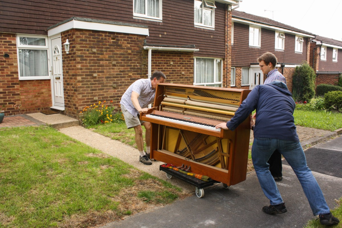 Manouevering the piano over his threshold, it took just two minutes to wheel the piano along the footpaths of Matthew's estate.