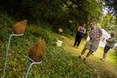 Richard Burdett takes a turn on the coconut shy.