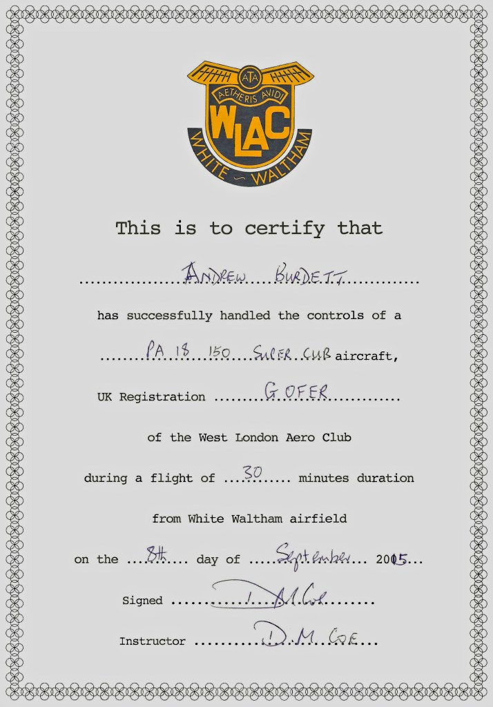 Andrew Burdett's certificate on completing an introductory flying lesson.