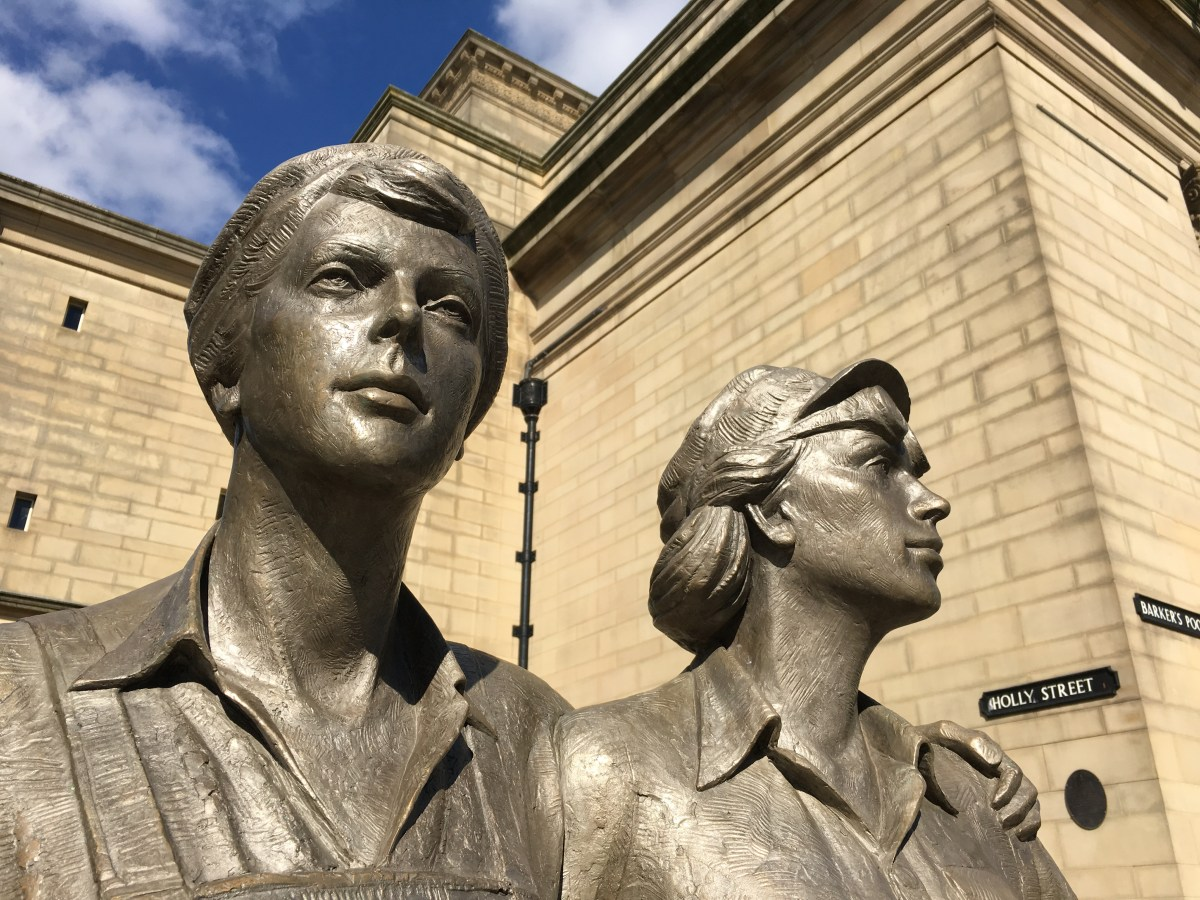 The bronze statue built to honour Sheffield's women metalworkers, to whom 'Operation Crucible' makes brief mention.