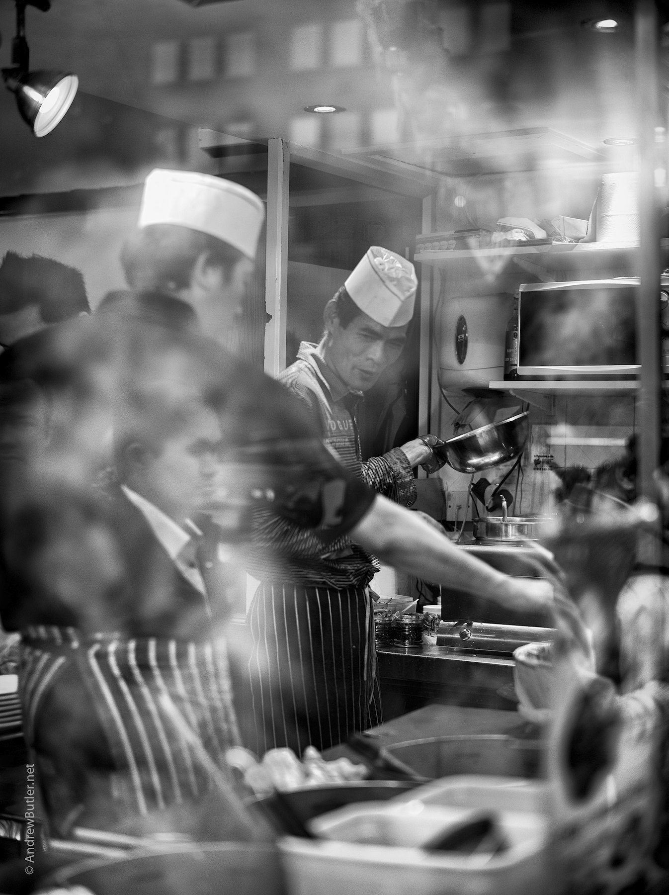 Black and White portrait photograph of Chinatown Cooks by Andrew Butler (Exeter)