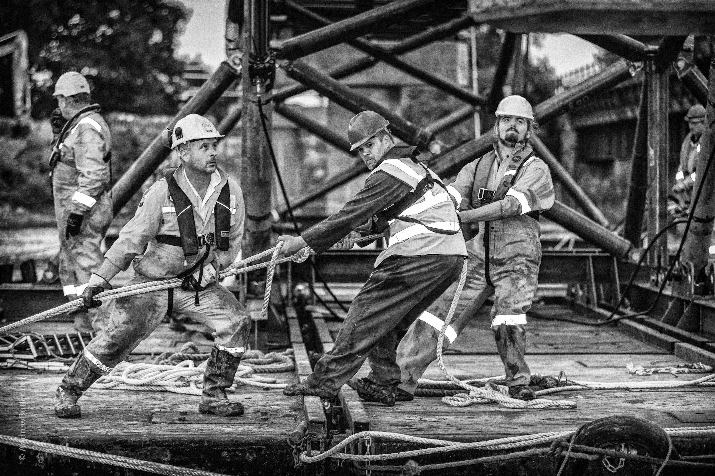 Black and White portrait photograph of Engineering Men by Exeter Devon Commercial Industrial Construction Photographer - Andrew Butler
