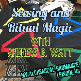 "Erik's logo and podcast title (""Sewing and Ritual Magic with Andrew B. Watt"") for episode 48"