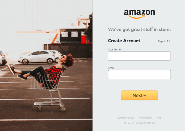 My version of Amazon Sign-up; Page 1