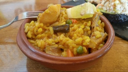Paella served in a small plate