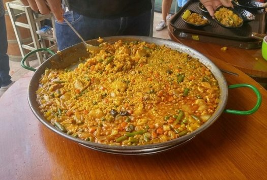 Paella in a large pan. My Tapas, Zenia Boulevard