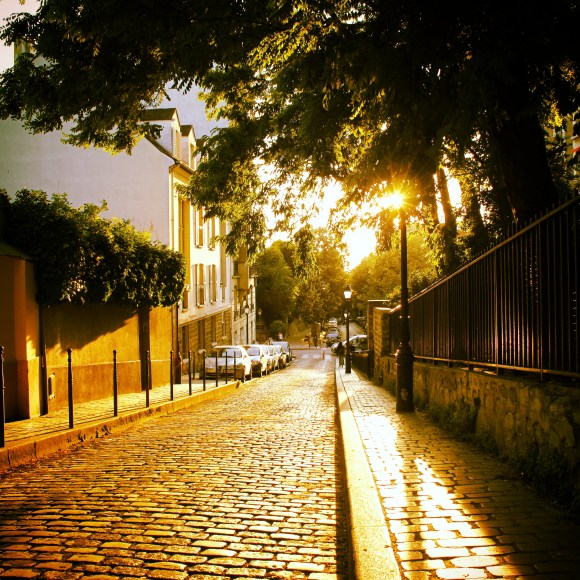 Sunset in Montmartre on a summer day. Paris, France