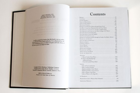 American Missal Contents