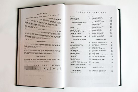 Monastic Diurnal Noted Table of Contents