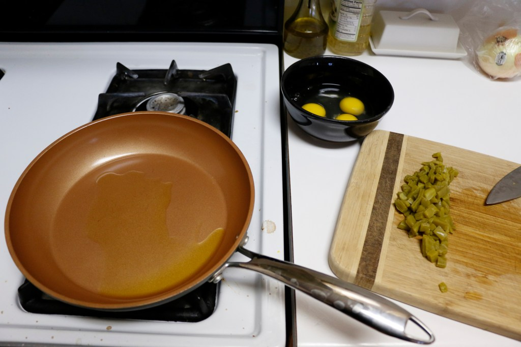Cooking oil in a pan.