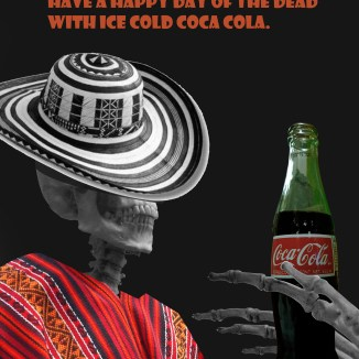 This was an advertisement for my Photoshop II class; it was at the time of Day of the Dead; so I decided to do a coca cola advertisement that incorporated Spanish. I think the decorative patterns help with the dark subject matter. One of the objectives was to use a lot of negative space.
