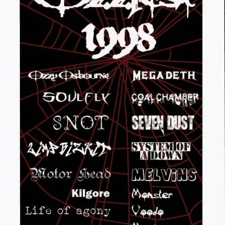This was a project for typography; it is a poster for the 1998 Ozzfest tour. The top two fonts are the actual fonts used by the bands; the rest stylistically match them as best I could.