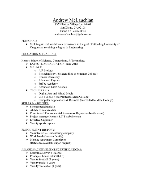 school student resume examples senior portfolio resume sample resume
