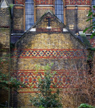 St Peter's church Vauxhall, south London, 1864; exterior brickwork, c.2015