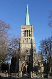 The church of St John of Jerusalem in Hackney, east London, UK; c.2016 the west facade.